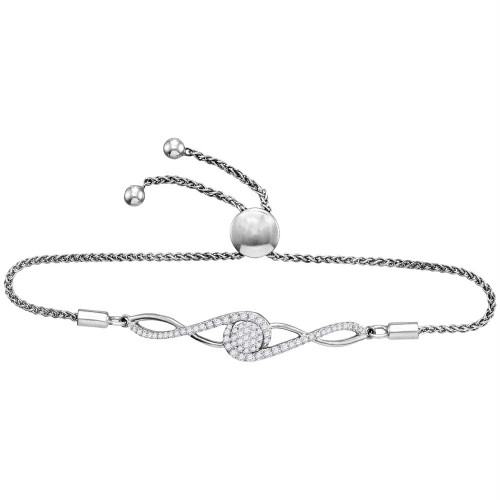 10kt White Gold Womens Round Diamond Bolo Bracelet 1/2 Cttw
