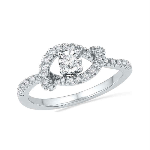 10kt White Gold Womens Round Diamond Cradle Solitaire Promise Bridal Ring 1/4 Cttw