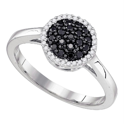 10k White Gold Womens Black Color Enhanced Diamond Halo Cluster Ring 1/4 Cttw