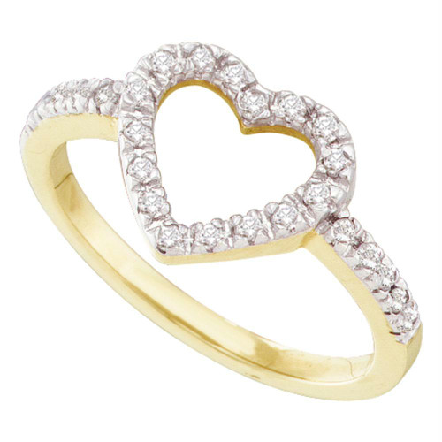 10kt Yellow Gold Womens Round Diamond Simple Heart Outline Ring 1/5 Cttw