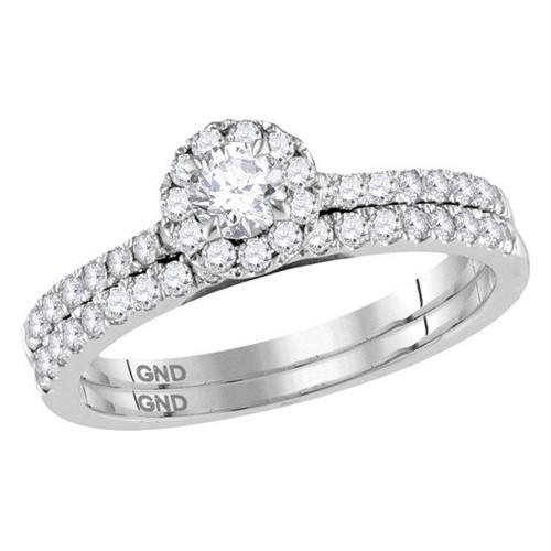 14kt White Gold Womens Round Diamond Halo Slender Bridal Wedding Engagement Ring Band Set 3/4 Cttw (Certified)