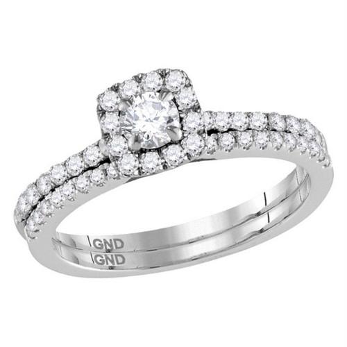 14kt White Gold Womens Round Diamond Slender Halo Bridal Wedding Engagement Ring Band Set 3/4 Cttw (Certified)