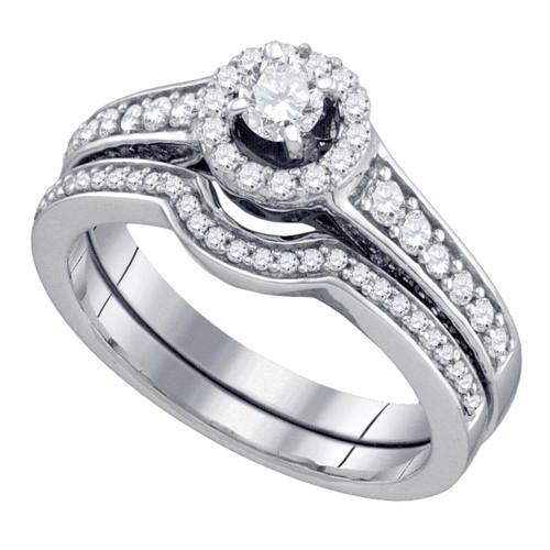 14kt White Gold Womens Round Diamond Halo Bridal Wedding Engagement Ring Band Set 3/4 Cttw