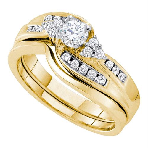 14kt Yellow Gold Womens Round Diamond Bridal Wedding Engagement Ring Band Set 1/2 Cttw - 52834-10