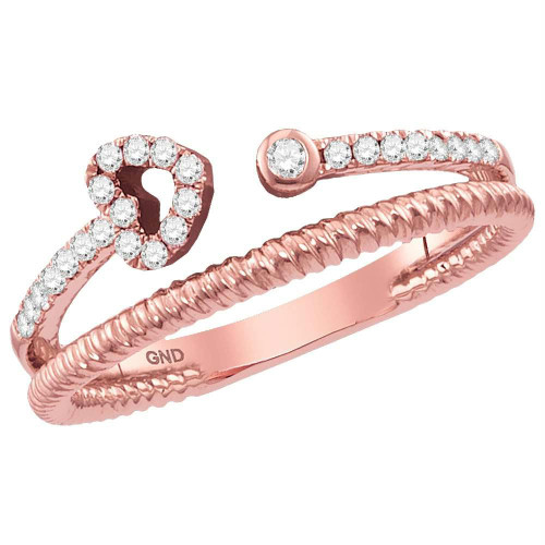 10kt Rose Gold Womens Round Diamond Heart Bisected Stackable Band Ring 1/6 Cttw