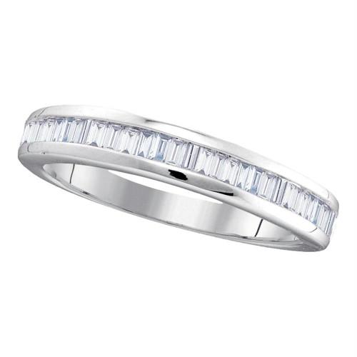 10kt White Gold Womens Baguette Diamond Wedding Anniversary Band 1/2 Cttw