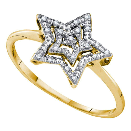 10kt Yellow Gold Womens Round Diamond Star Ring 1/20 Cttw