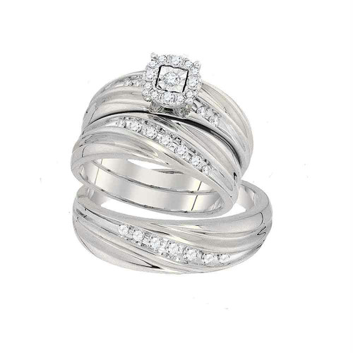 10k White Gold Round Diamond Mens Womens Matching Trio Wedding Engagement Bridal Ring Band Set