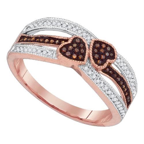 10kt Rose Gold Womens Round Red Color Enhanced Diamond Double Heart Love Striped Ring 1/5 Cttw