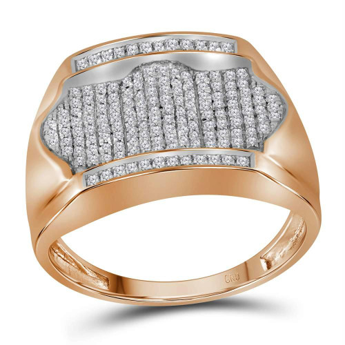 10kt Rose Gold Mens Round Diamond Rectangle Arched Cluster Ring 1/2 Cttw