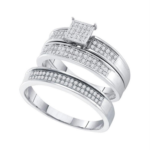 10kt White Gold His & Hers Round Diamond Cluster Matching Bridal Wedding Ring Band Set 1/3 Cttw - 51278-7.5