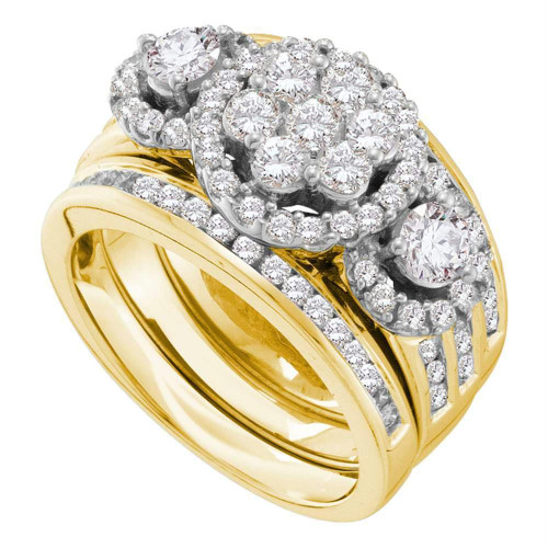 14kt Yellow Gold Womens Round Diamond 3-Piece Bridal Wedding Engagement Ring Band Set 2.00 Cttw