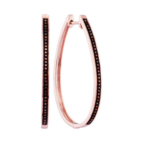 10kt Rose Gold Womens Round Diamond Oblong Single Row Hoop Earrings 1/6 Cttw