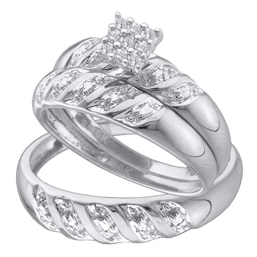 10kt White Gold His & Hers Round Diamond Cluster Matching Bridal Wedding Ring Band Set 1/10 Cttw - 42105-8.5