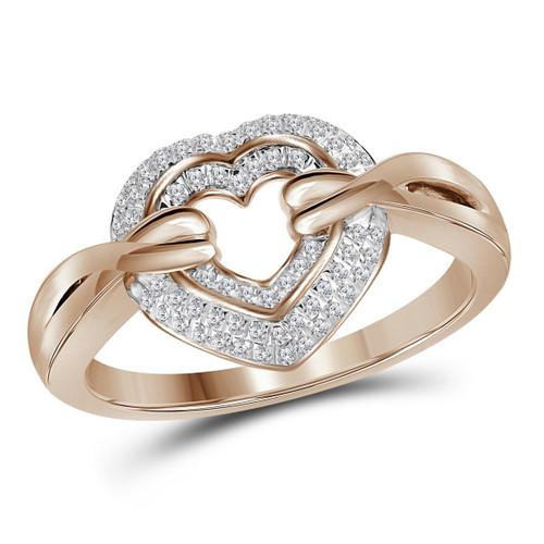 10kt Rose Gold Womens Round Diamond Heart Love Ring 1/5 Cttw