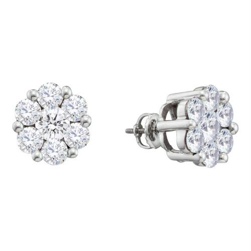 10k White Gold Round Diamond Flower Cluster Womens Screwback Stud Earrings 1/2 Cttw