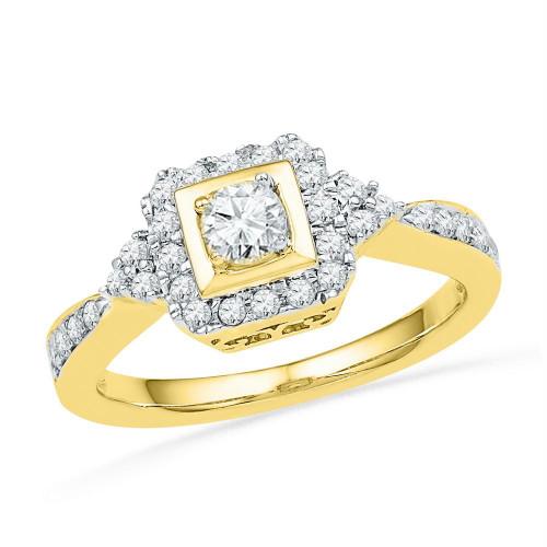 10k Yellow Gold Womens Round Diamond Bridal Wedding Engagement Anniversary Ring 1/2 Cttw - 102031-8.5