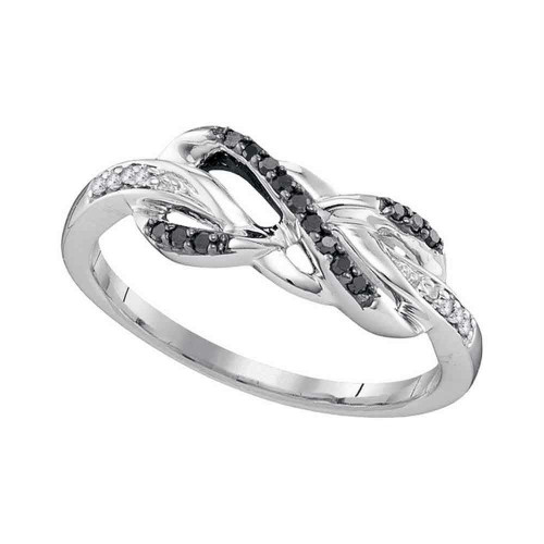 10kt White Gold Womens Round Black Color Enhanced Diamond Infinity Ring 1/10 Cttw - 97530