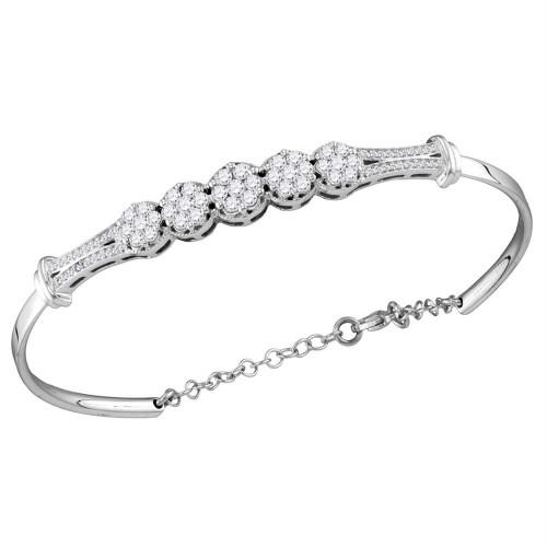 10kt White Gold Womens Round Diamond Cluster Promise Bangle Bracelet 1.00 Cttw