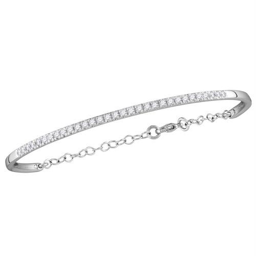 10kt White Gold Womens Round Diamond Promise Bangle Bracelet 1/2 Cttw
