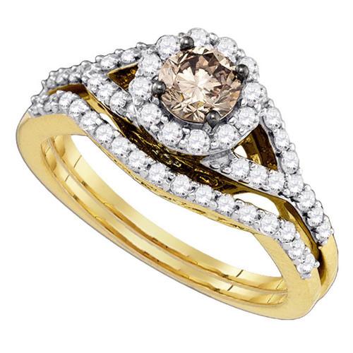 14kt Yellow Gold Round Cognac-brown Diamond Bridal Wedding Engagement Ring Band Set 1.00 Cttw