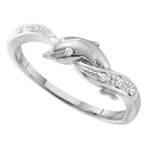 10kt White Gold Womens Round Diamond Dolphin Ring .03 Cttw