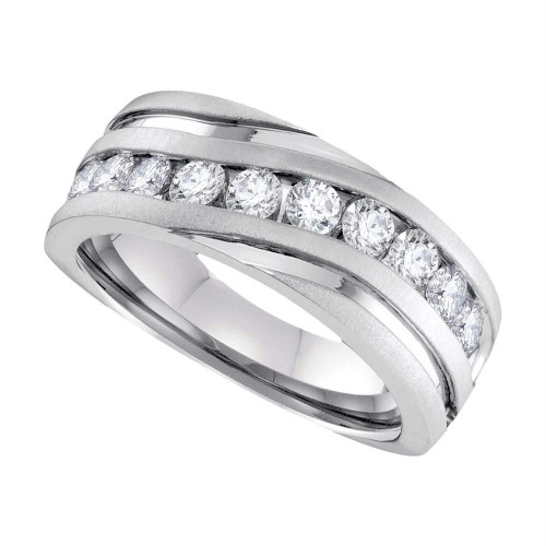 10k White Gold Mens Round Diamond Channel-set Wedding Anniversary Band 1/4 Cttw