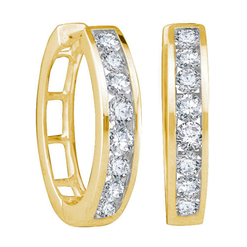 14kt Yellow Gold Womens Round Diamond Hoop Earrings 1/4 Cttw