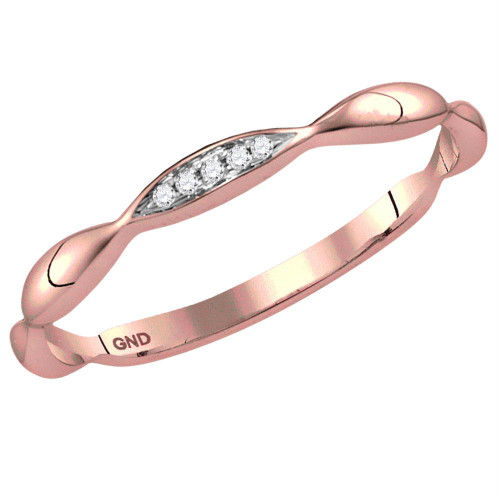 10kt Rose Gold Womens Round Diamond Contour Stackable Band Ring .02 Cttw