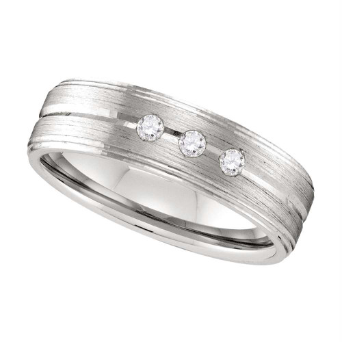 10k White Gold Mens Round Diamond Brushed Wedding Anniversary Band Ring 1/8 Cttw