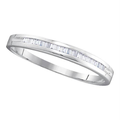 10kt White Gold Womens Baguette Diamond Wedding Anniversary Band 1/6 Cttw