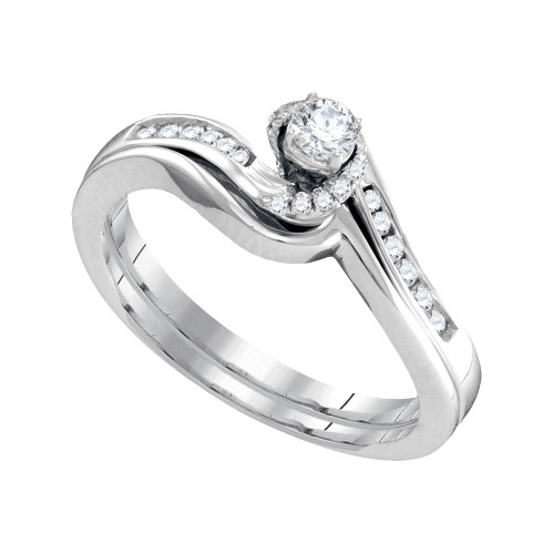 10k White Gold Womens Round Diamond Bridal Wedding Engagement Ring Band Set 1/4 Cttw - 95732-10