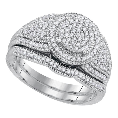 10k White Gold Womens Round Diamond Cluster Bridal Wedding Engagement Ring band Set 1/2 Cttw