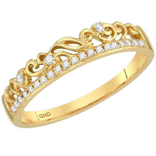 10kt Yellow Gold Womens Round Diamond Floral Accent Stackable Band Ring 1/12 Cttw