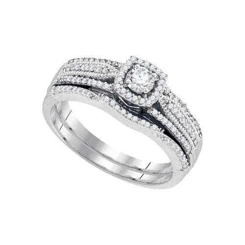 10k White Gold Womens Round Diamond Bridal Wedding Engagement Ring Band Set 3/8 Cttw