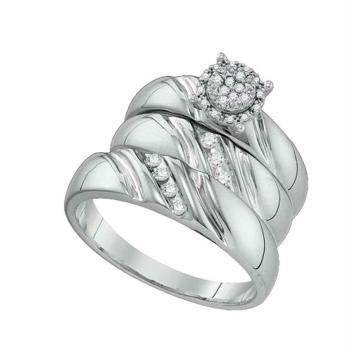 10k White Gold Round Diamond His & Hers Matching Trio Wedding Bridal Engagement Ring Band Set 1/5 Cttw