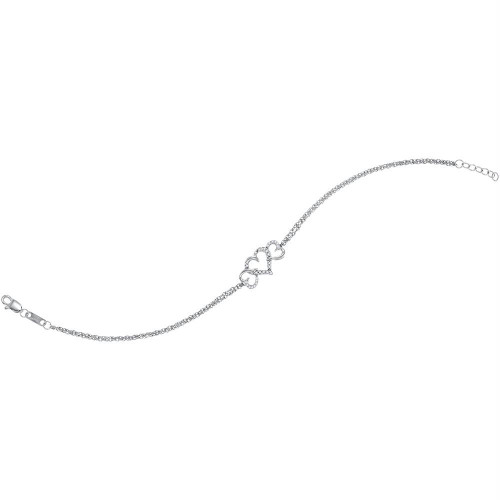 10kt White Gold Womens Round Diamond Triple Heart Chain Bracelet 1/10 Cttw