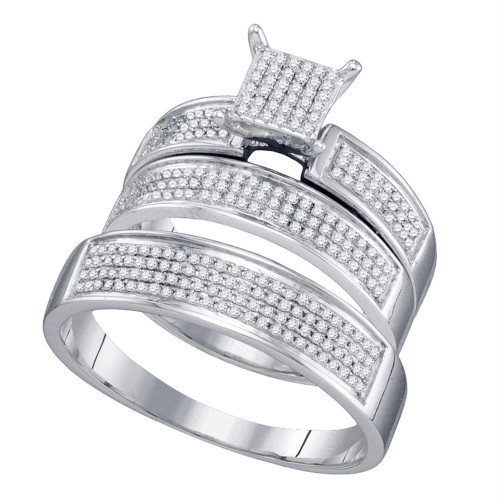10kt White Gold His & Hers Round Diamond Cluster Matching Bridal Wedding Ring Band Set 1/2 Cttw - 67450-10.5