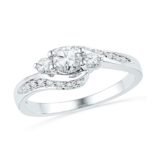 10kt White Gold Womens Round Diamond 3-stone Bridal Wedding Engagement Ring 1/2 Cttw - 101546-10.5