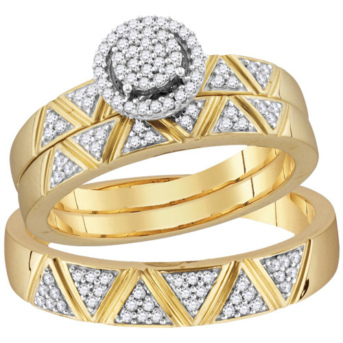 10k Yellow Gold Diamond Cluster His & Hers Matching Trio Wedding Engagement Ring Band Set 1/3 Cttw