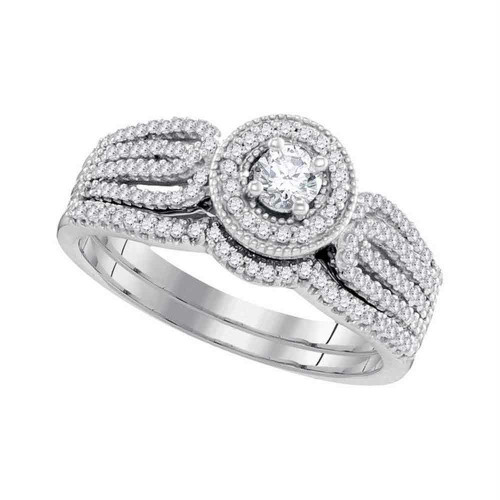 10k White Gold Round Diamond Bridal Wedding Engagement Ring Band Set 1/2 Cttw - 98610-9
