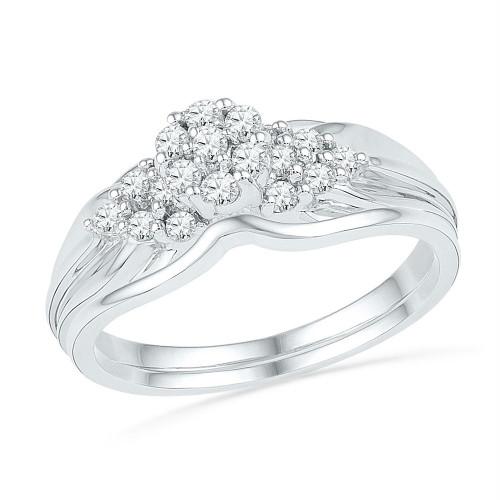 10k White Gold Womens Round Diamond Cluster Bridal Wedding Engagement Ring Band Set 1/3 Cttw