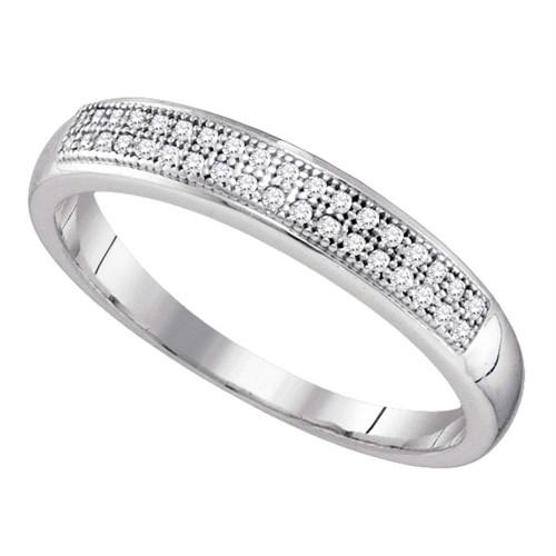 10k White Gold Round Pave-set Diamond Womens Bridal Wedding Anniversary Band 1/10 Cttw