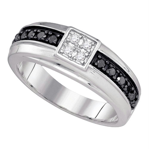 10k White Gold Mens Black Color Enhanced Diamond Wedding Anniversary Band Ring 3/8 Cttw