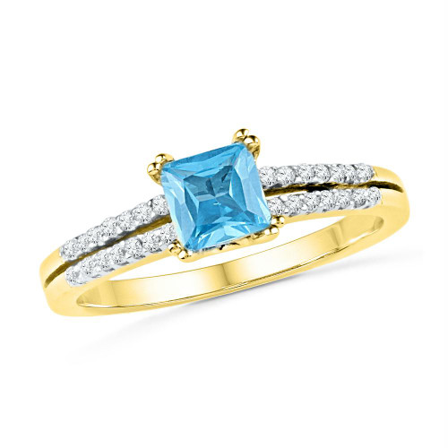 10k Yellow Gold Womens Lab-created Blue Topaz & Diamond Bridal Ring 5/8 Cttw