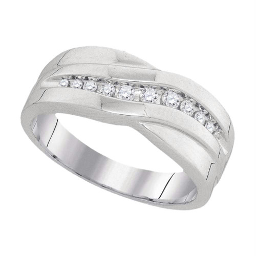 10k White Gold Round Diamond Mens Masculine Wedding Anniversary Band Ring 1/4 Cttw