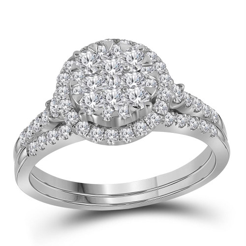 14kt White Gold Womens Round Diamond Cluster Halo Bridal Wedding Engagement Ring Band Set 1.00 Cttw