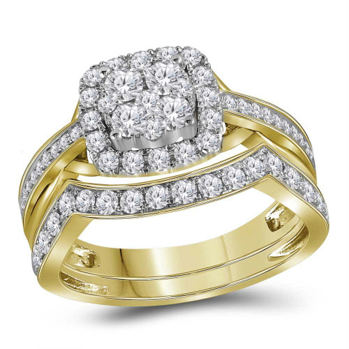 14kt Yellow Gold Womens Round Diamond Cluster Bridal Wedding Engagement Ring Band Set 1.00 Cttw - 116070
