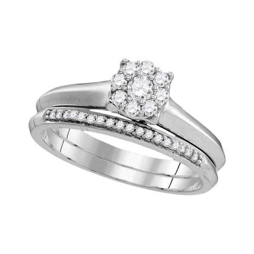 10k White Gold Womens Round Diamond Bridal Wedding Engagement Ring Band Set 1/3 Cttw - 109776-8.5