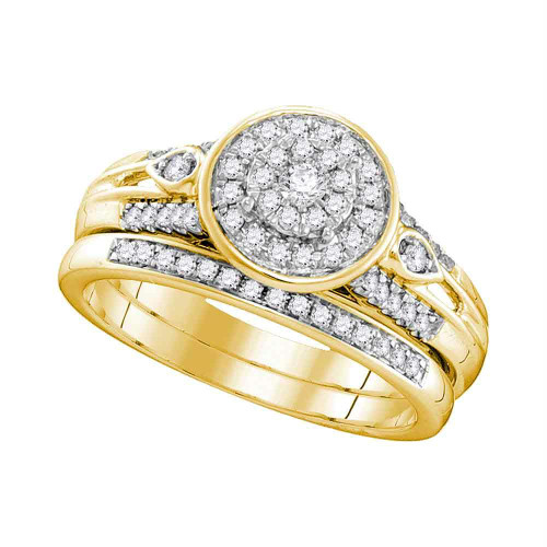 10k Yellow Gold Womens Round Diamond Halo Bridal Wedding Engagement Ring Band Set 3/8 Cttw